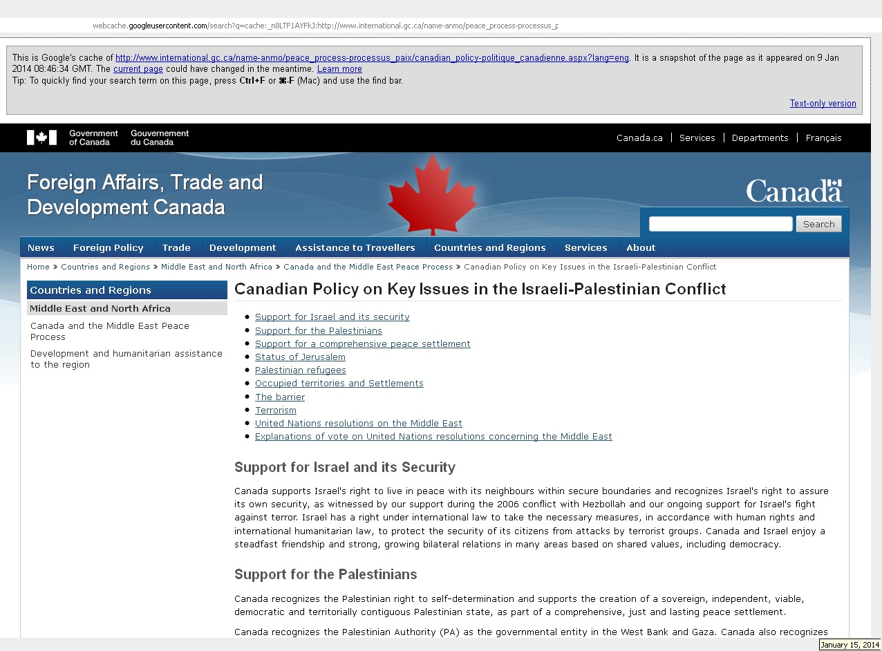 Canadian Policy on Key Issues in the Israeli-Palestinian Conflict: Cached 09Jan2014