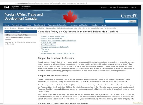 Canadian Policy on Key Issues in the Israeli-Palestinian Conflict: Retrieved 15Jan2014