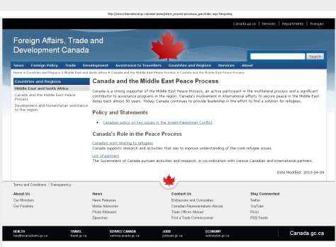Canada and the Middle East Peace Process: Cached 05Oct2013