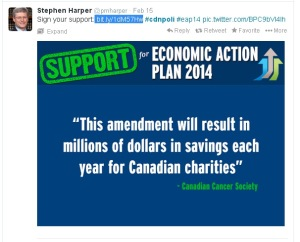 Harper's PMO EAP Tweet Redirection Propaganda Website Conflict of Interest 15Feb2014