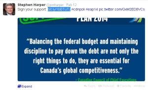 Harper's PMO EAP Tweet Redirection Propaganda Website Conflict of Interest 12Feb2014