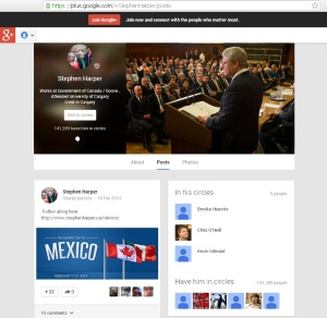 Harper's PMO Google+ Website Redirect url Conflict of Interest 21Feb2014
