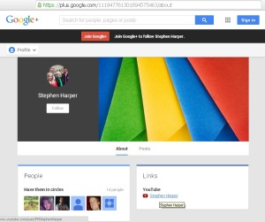 Harper's PMO GooglePlus Website Redirect url Conflict of Interest 21Feb2014