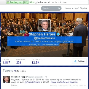 Harper's PMO Twitter Website Redirect url Conflict of Interest 21Feb2014 (fr)