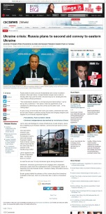 Ukraine crisis: Russia plans to second aid convoy to eastern Ukraine [archived v1] Thomson Reuters Posted: Aug 25, 2014 6:15 AM ET Last Updated: Aug 25, 2014 6:15 AM ET