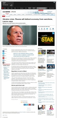 Ukraine crisis: Russia will defend economy from sanctions, Lavrov says [archived v1] Negotiators set to meet in Minsk to discuss possible ceasefire Thomson Reuters Posted: Sep 01, 2014 2:55 AM ET Last Updated: Sep 01, 2014 2:55 AM ET
