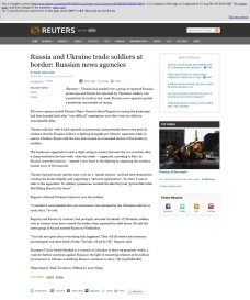 This is Google's cache of http://www.reuters.com/article/2014/08/31/us-ukraine-crisis-prisoners-idUSKBN0GV06D20140831. It is a snapshot of the page as it appeared on 31 Aug 2014 12:56:15 GMT. The current page could have changed in the meantime. Russia and Ukraine trade soldiers at border: Russian news agencies By Mark Trevelyan MOSCOW Sun Aug 31, 2014 6:41am EDT