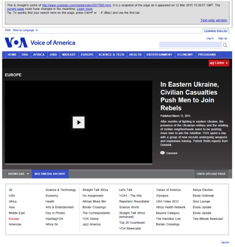 12mar2015 VOA In Eastern Ukraine, Civilian Casualties Push Men to Join Rebels Cached 12Mar2015 15:39:57 GMT