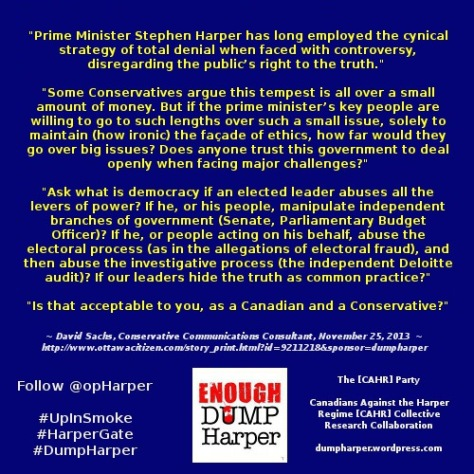CENSORED Op-Ed: Stephen Harper puts Conservatives in a bind By David Sachs, Ottawa Citizen November 25, 2013